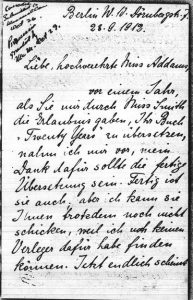 First page of a letter to Addams by Else Münsterberg, 1912.